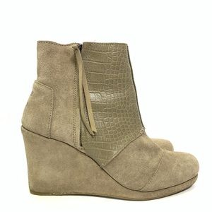 Toms Desert Wedge Side Zip Booties